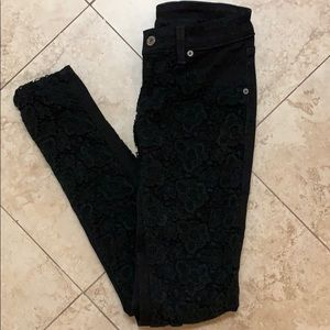 Denim - Black Lace Detailed Jeans from LF